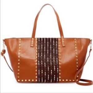 Cognac Tote With Studs Vegan Leather